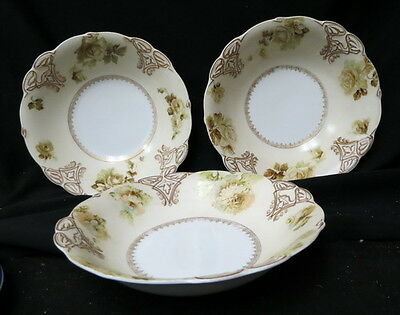 3 total hand painted Silesia Old Ivory deep dish bowls 2# 16 & 1# 15 / all clean