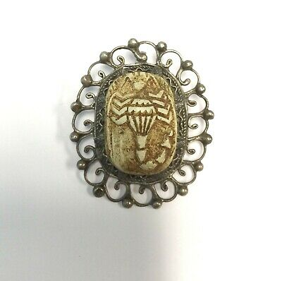 RARE Antique Egyptian Scarab Scorpion 800 Silver Pendant Brooch