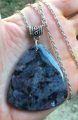 For Men & Women, Larvikite Stone Pendant & Necklace Choices