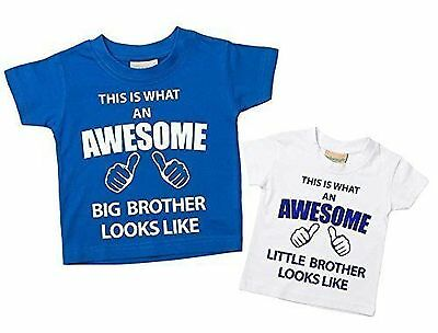 This What An Awesome Big Brother Little Brother Tshirt Set Blue White Baby To...