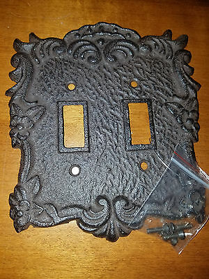 Rust Brown Fancy Flower Cast Iron Double Switch Plate
