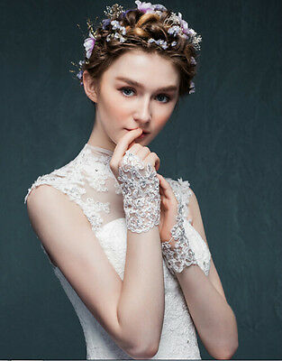 Bridal Gloves InStock Lace Appliques Beads FingerlessWrist Length With RibbonBBX