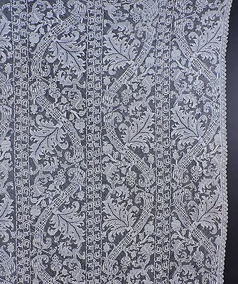 Antique Filet Lace Bedspread With Rich Leaves In The Patterns