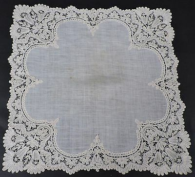 Most Beautiful 19Th C Hand Made Floral Duchess Lace Handkerchief
