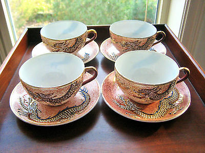 4 OCCUPIED JAPAN DRAGONWARE GILDED CUPS AND SAUCERS c 1945-1952 BEAUTIFUL !!