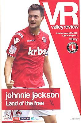 Charlton Athletic v Bury 31/1/2012 match programme
