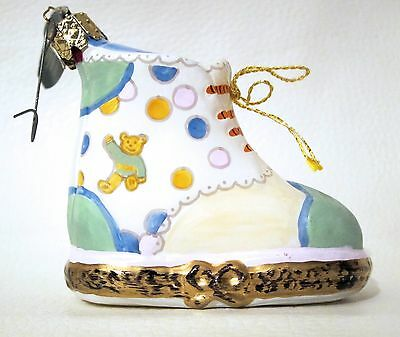 Rochard Baby Shoe Christmas Ornament Hand Painted Mouth-Blown Glass Germany
