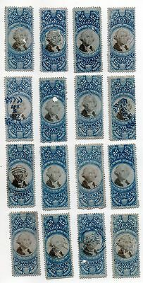 g896. United States Back of Book Revenue Stamps (16) R112 25c Documentary UH