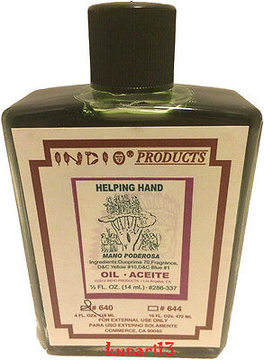 Helping Hand, Oil, Indio Products, 4 oz, Lunari13, Wicca, Santeria, Magick