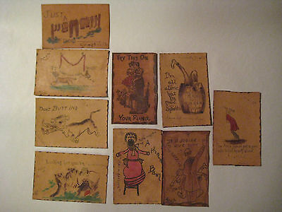 Antique Leather Postcards 1905 -1907 Group Of 9 Humorous