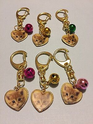 Anti-Theft Cute Cat Purse Bag Charm Keyring with Metal jingle Bell