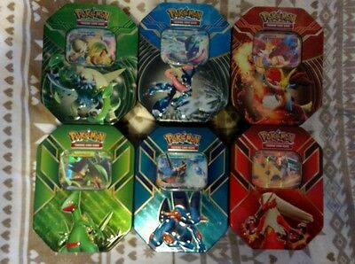 Pokemon 6 Empty Tins with EX, Code Cards and 3 Booster Packs