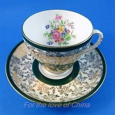 Green Edge with Gold and Florals Royal Grafton Tea Cup and Saucer Set