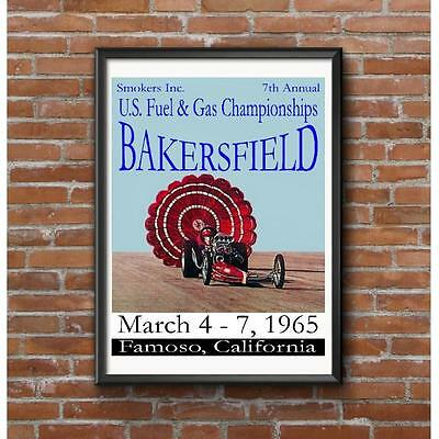1965 Bakersfield U.S. Fuel & Gas Championships Poster - Smokers March Meet