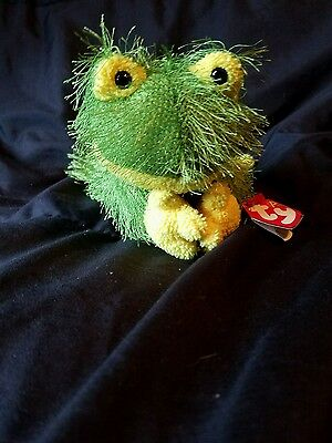 "2002 TY Beanie PUNKIES Plush Shaggy Green 9"" HOPSCOTCH The Floppy FROG Froggy"