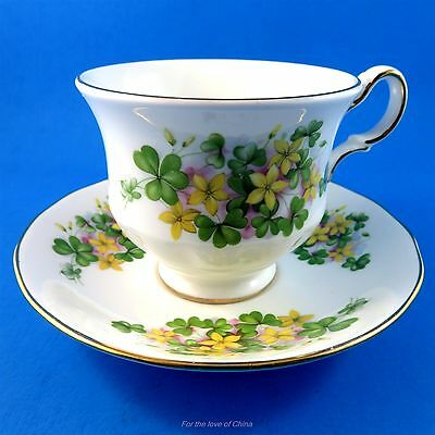 Yellow Floral with Clovers Queen Anne Tea Cup and Saucer Set