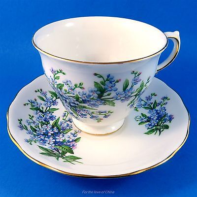 Pretty Queen Anne Blue Forget me Nots Tea Cup and Saucer Set