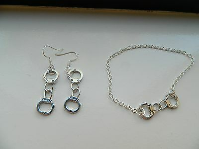 handcuff earrings and bracelet set hand made by me