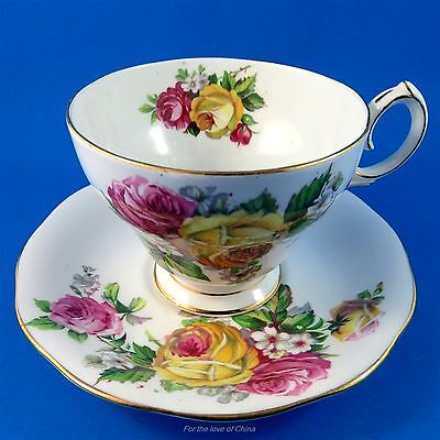 Queen Anne Manor Roses Tea Cup and Saucer Set