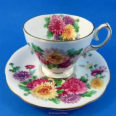 """ Autumn Glory "" Queen Anne Demitasse Tea Cup and Saucer Set"