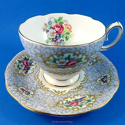 Striking Floral Border Queen Anne Gainsborough Tea Cup and Saucer Set