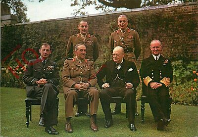 Postcard: WW2, WINSTON CHURCHILL, WITH CHIEFS OF STAFF, DOWNING STREET GARDEN