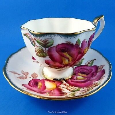 Signed H Bailey Handpainted Queen Anne Windsor Rose Tea Cup and Saucer Set