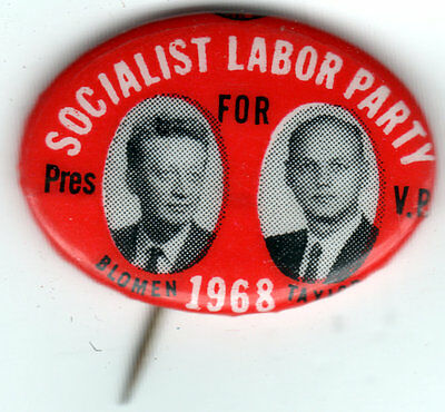 1968 Socialist Labor Party BLOMEN & TAYLOR for President & V.P. Campaign Pin