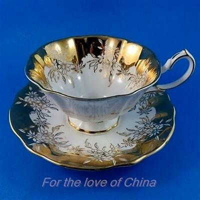 Rich Gold Floral Design Border Queen Anne Tea Cup and Saucer Set
