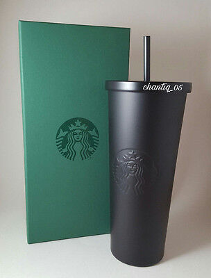 Starbucks 2016 MATTE BLACK Stainless Steel Cold Cup Tumbler 24oz NEW