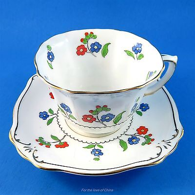 Rare Handpainted Blue and Red Floral Square Shaped Foley Tea Cup and Saucer Set
