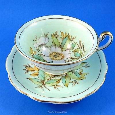 Handpainted Wild Rose on Pale Blue Foley Tea Cup and Saucer Set