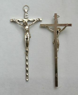 Small Metal Wall Crucifix, 90mm  Silver Tone, Made in Italy