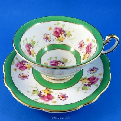 Green Border with Pretty Pink Roses Foley Tea Cup and Saucer Set