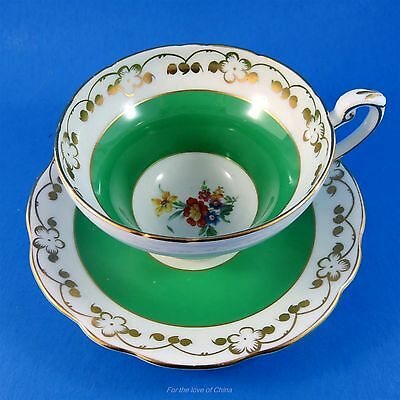 Pretty Green Border with Floral Center Foley Tea Cup and Saucer Set