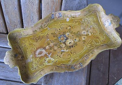 Vintage Shabby Floral Hand Painted Papier Mache? Tray Antique Japan Wall Art