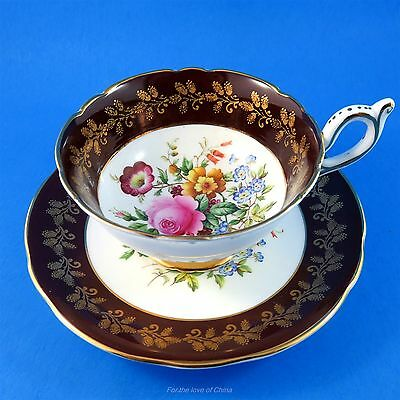 Bright Floral Bouquet with Burgundy and Gold Border Foley Tea Cup and Saucer Set