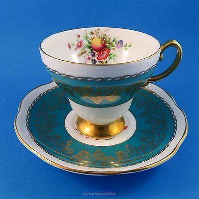 Stunning Teal Blue Fruit & Floral Center Foley Tea Cup and Saucer Set