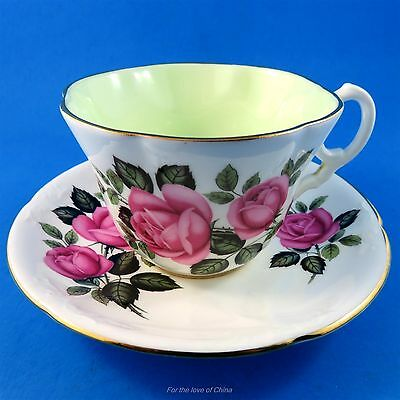 Pink Roses with Pale Green Center Foley Tea Cup and Saucer Set