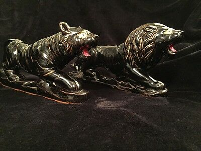 Vintage Japanese Red Ware Mid Century Modern Ceramic Lion And Tiger Set 12.5'