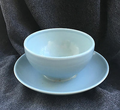 Russel Wright Ice Blue Gravy Boat W/ Attached Underplate Casual China Iroquois