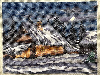 """Cross stitch New FINISHED COMPLETED HANDMADE """"Village house"""" DECOR"""