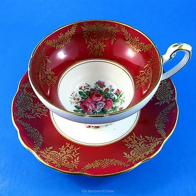 Deep Red Border with Floral Bouquet Center Foley Tea Cup and Saucer Set