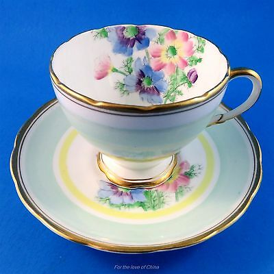 Unique Handpainted Florals with Green and Yellow Foley Tea Cup and Saucer Set