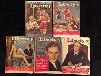 A Lot Of 5 Vintage Liberty Magazines From 1935 Lindbergh Franklin D Roosevelt