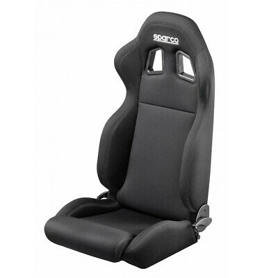 Sparco R100 Reclining Racing Car Sport Fabric Bucket Seat - Black