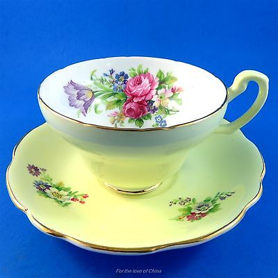 "Pretty Yellow ""Foley Tulip"" Foley Tea Cup and Saucer Set"