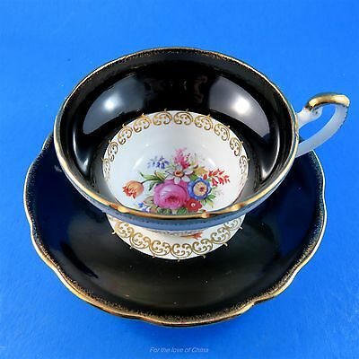 Stunning Floral Center with a Black Border Foley Tea Cup and Saucer Set