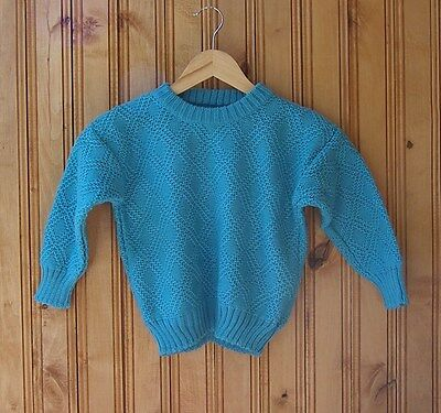 Boys knitted sweater, 4 to 5 years Girls knitted sweater, kids turquoise sweater