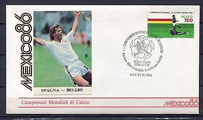 s13593) MEXICO 22.6.1986 FDC  FIFA WC Football SPAIN BELGIUM